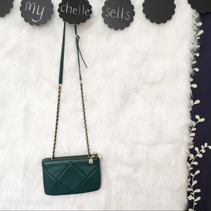 NWOT Talbots Leather Teal Quilted Chain Crossbody